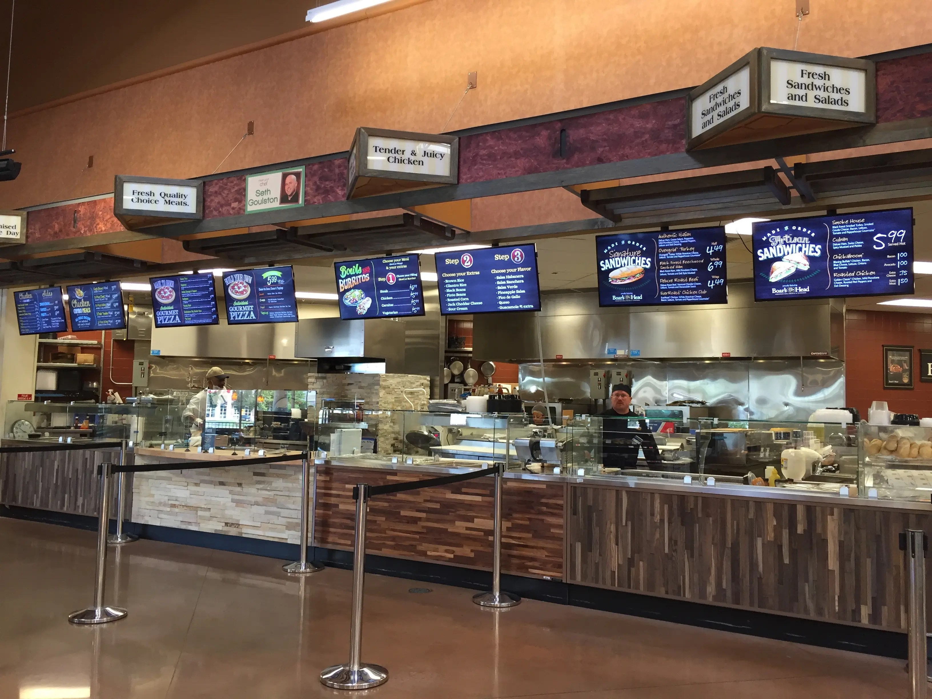 "The ""fresh meals"" kitchen features all kinds of customizable dishes, including pizza, sandwiches, and burrito bowls made to order."