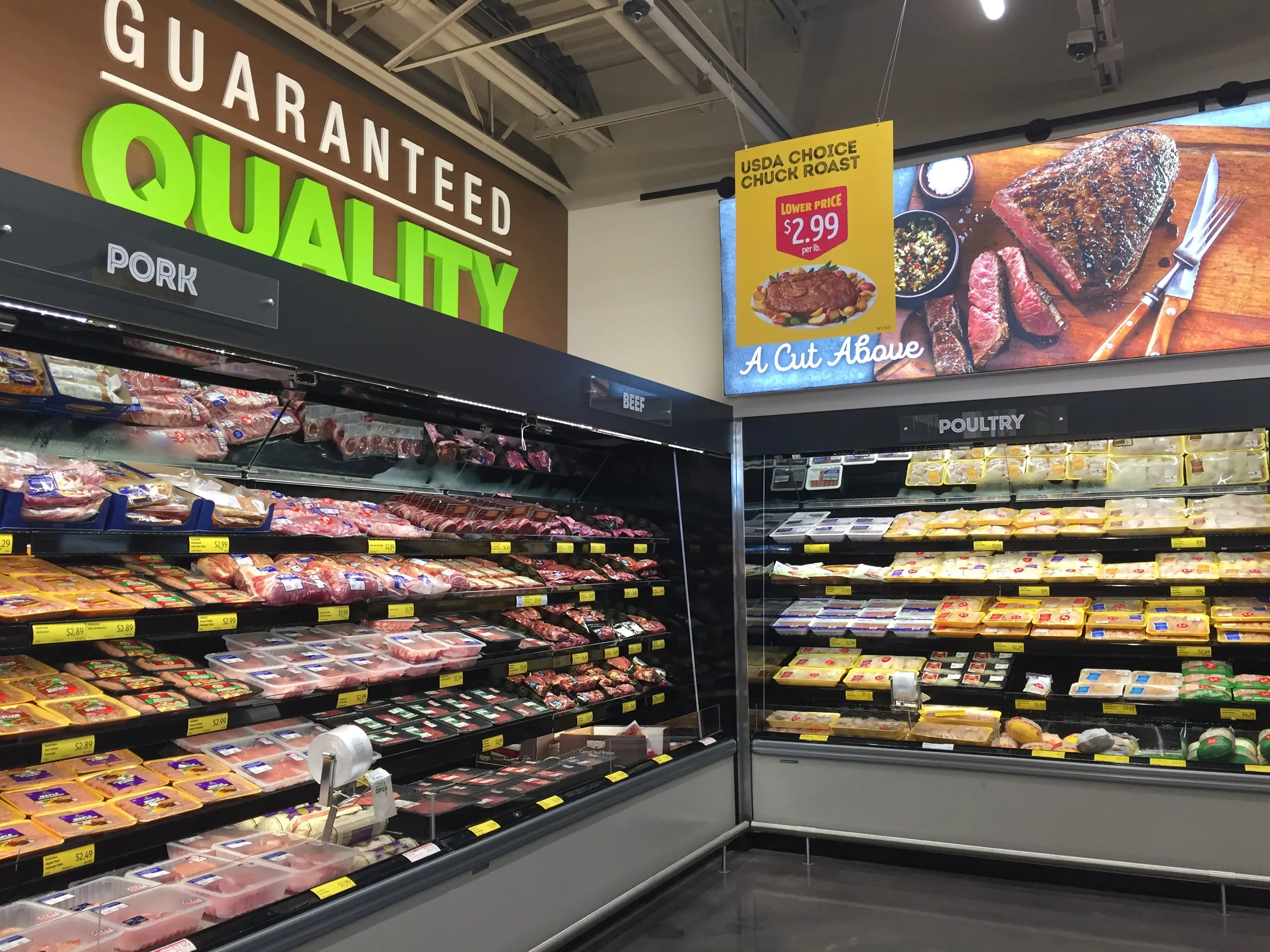 Digital displays and lit signs everywhere promise quality and freshness.