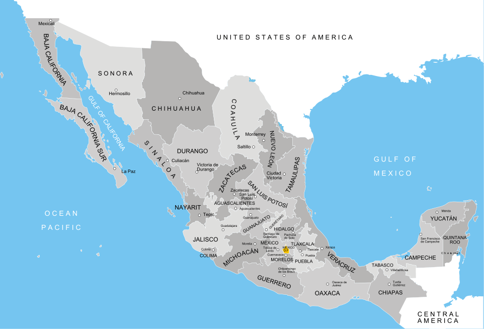 Mexican states map with names