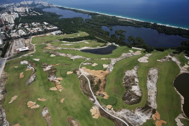 The Olympic golf course took three years to make and drew much ire because it was built in a national wildlife reserve. Now it's run-down and empty.