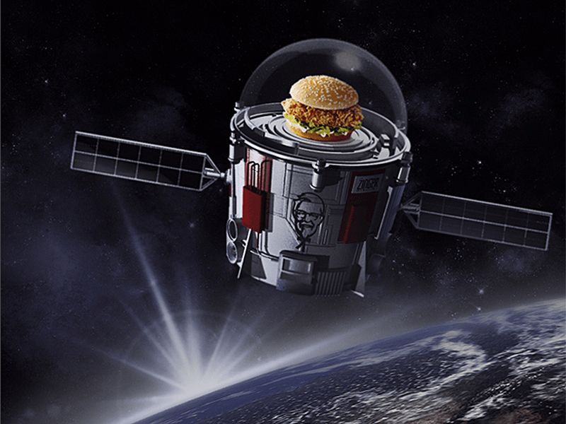 kfc space sandwich world view illustration