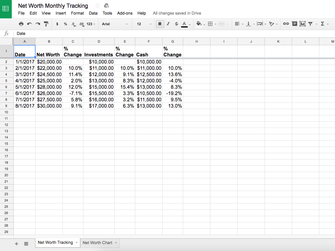 Net Worth Tracking Spreadsheet Template From A Financial