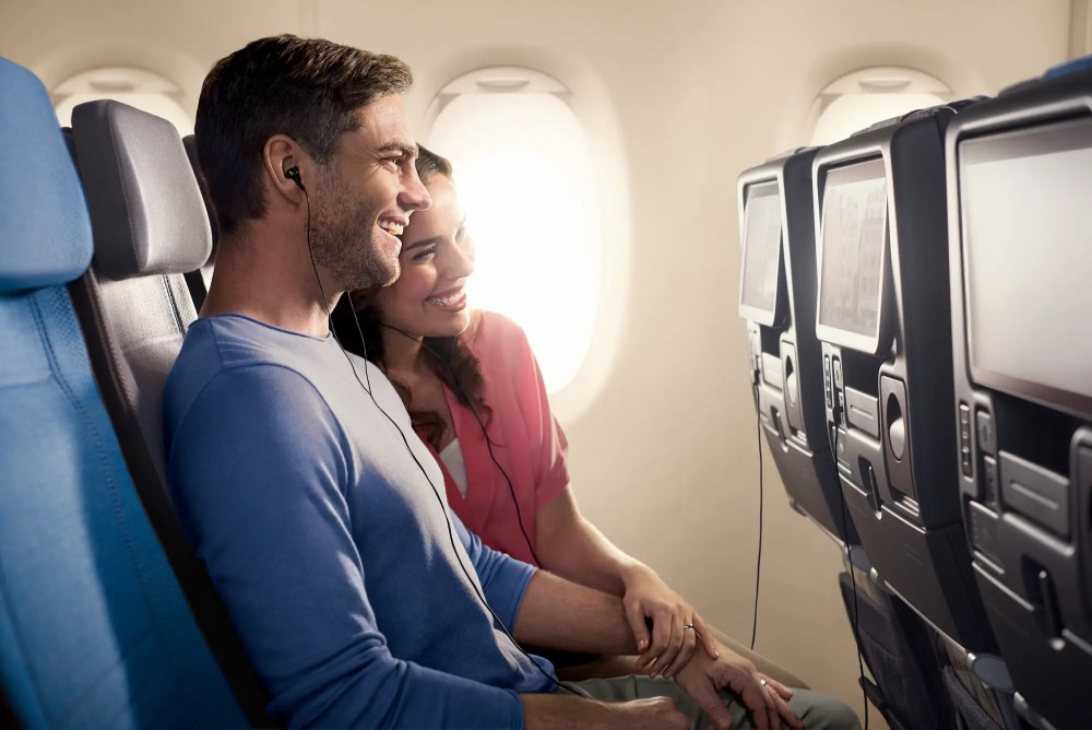 Economy class seats are equipped with an 11.1-inch display and in-seat charging for smart devices.
