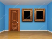 Blue room with door and picture frames  Stock Photo ...