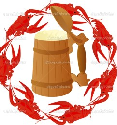 wooden mug of beer surrounded by boiled crawfish photo by guarding [ 1021 x 1024 Pixel ]