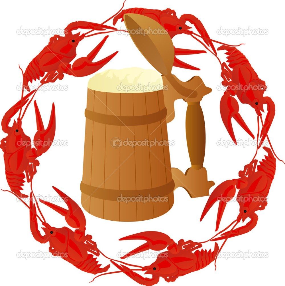 medium resolution of wooden mug of beer surrounded by boiled crawfish photo by guarding