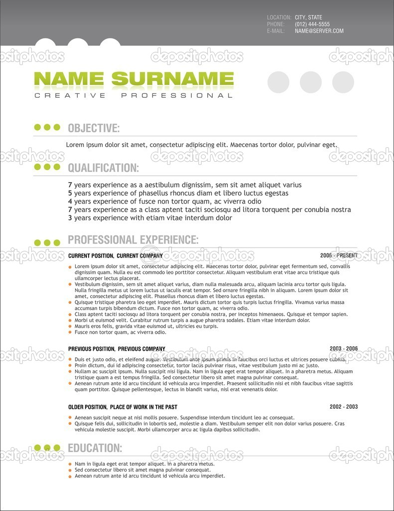 Clean Professional Resume Layout Template — Stock Vector