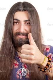 friendly hippie with long hair