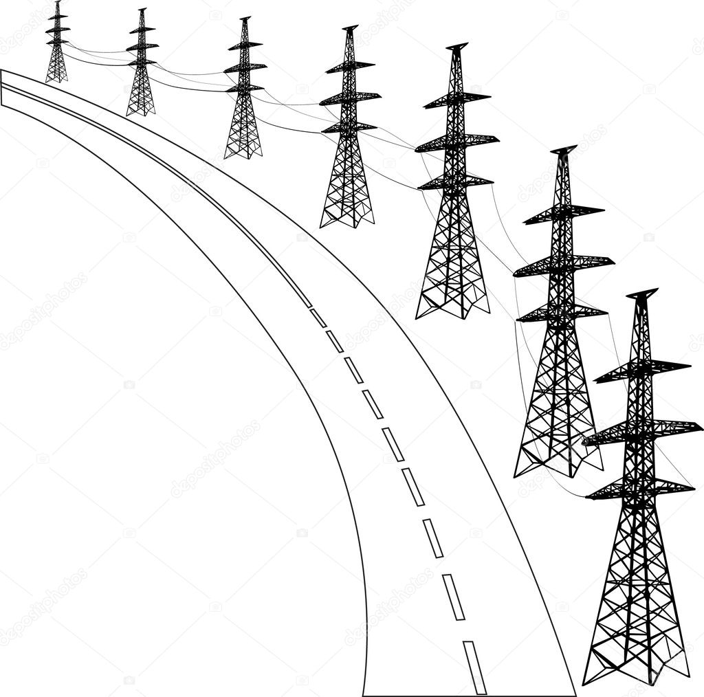 Electric Line And Road Illustration