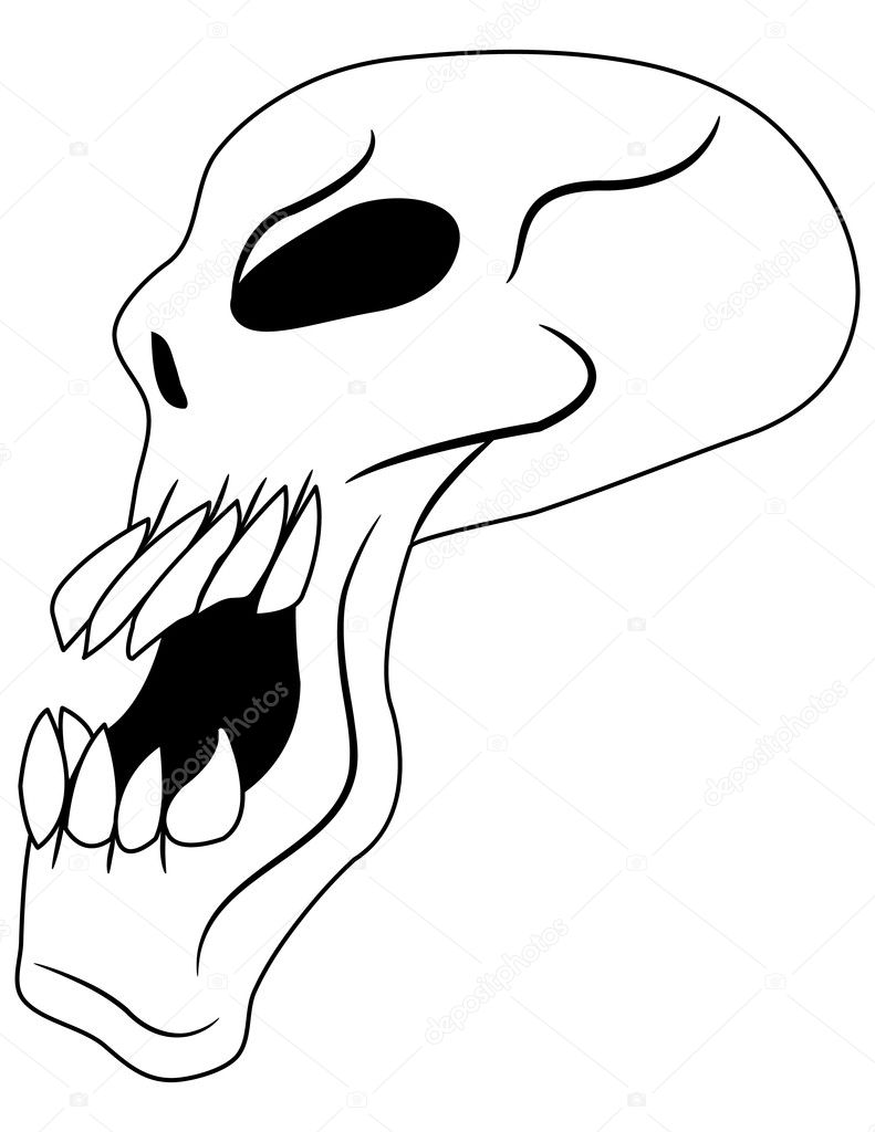 Side View of an Evil Skull — Stock Vector © apotterdd #5476019