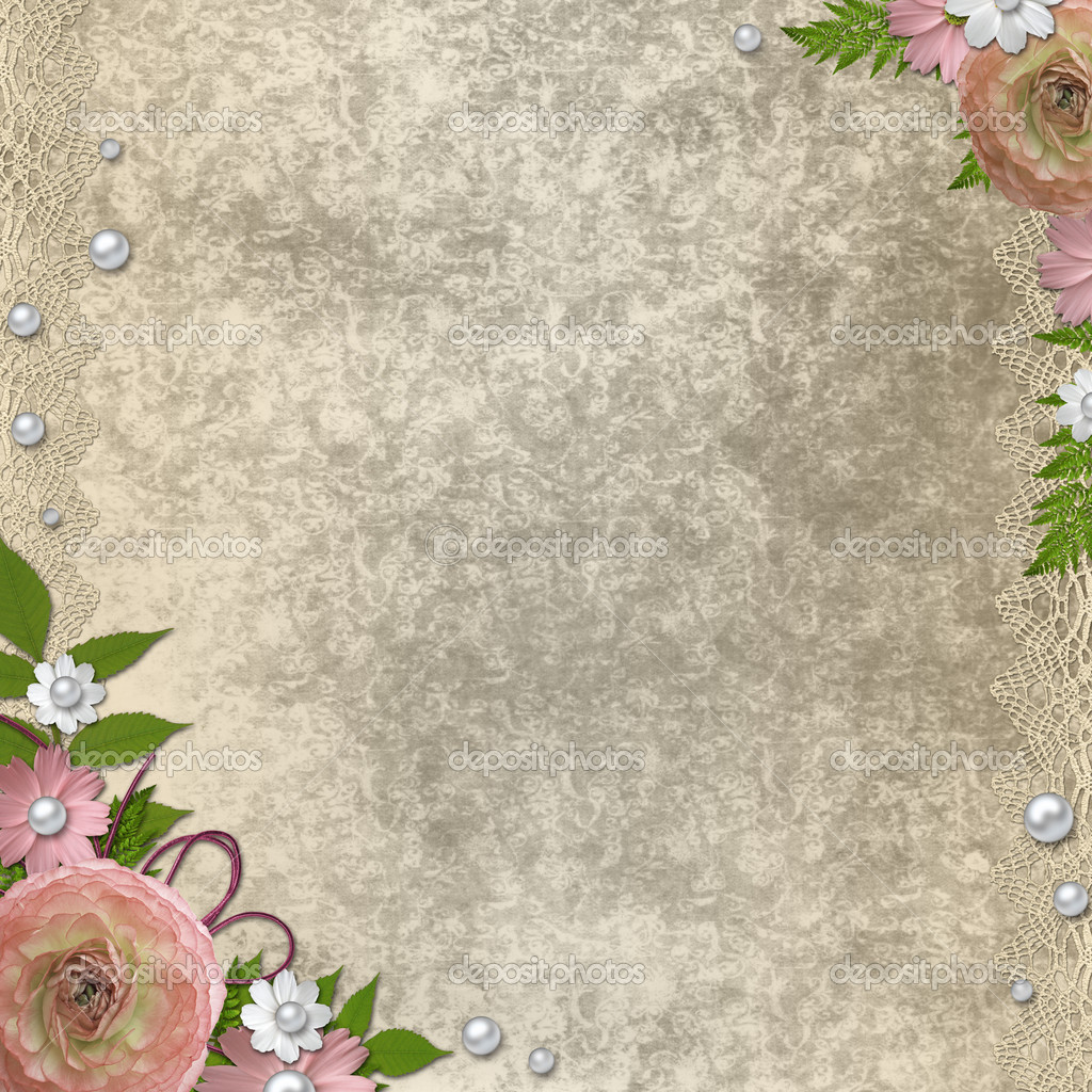vintage beige background with pink roses pearls and lace mdash stock