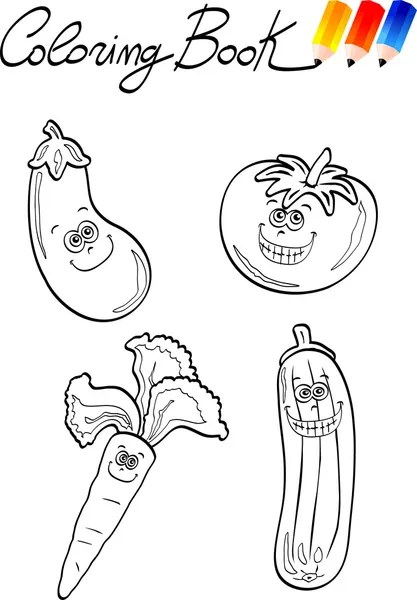 vegetables group illustration for coloring book — Stock