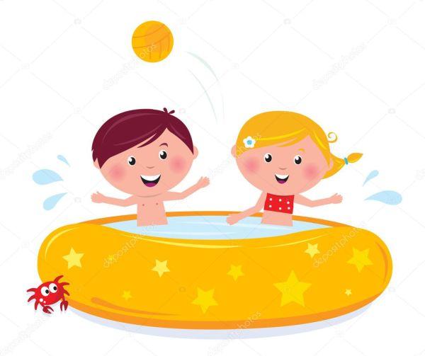 Little Girl And Boy Splashing In Swimming Pool Stock