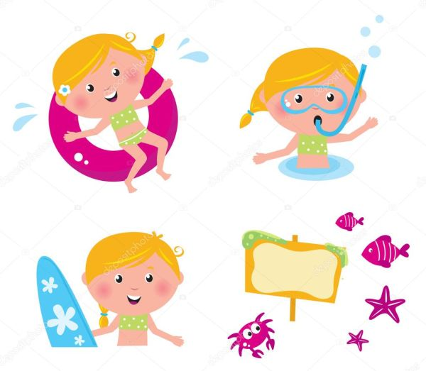 Vector Collection Summer Icons Swimming Kids Stock