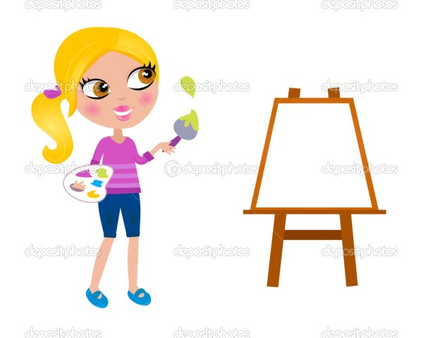 Cartoon Happy Little Painter Girl With Paint Brush Stock
