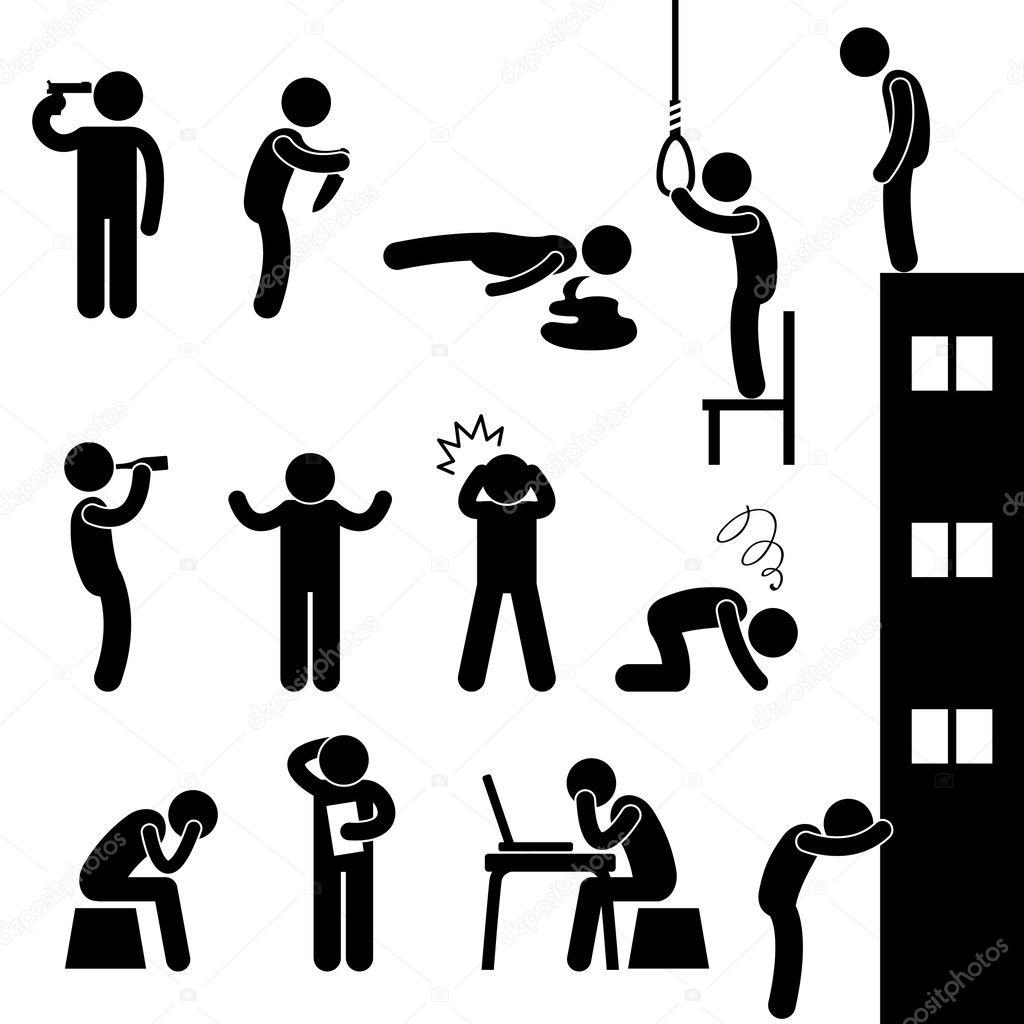 Man Suicide Kill Desperate Death Stress Sad — Stock Vector