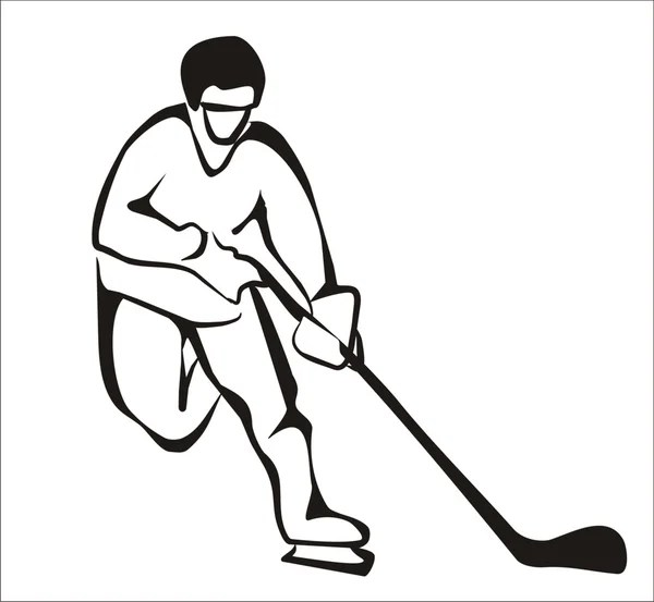 Hockey player, sketch in black lines — Stock Vector