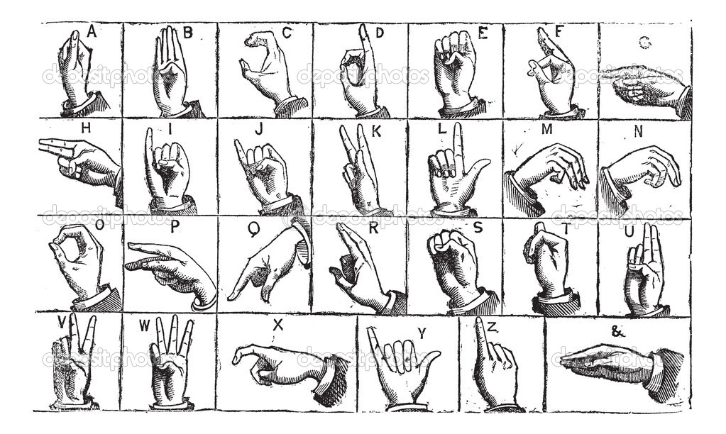 One-handed manual alphabets vintage engraving — Stock
