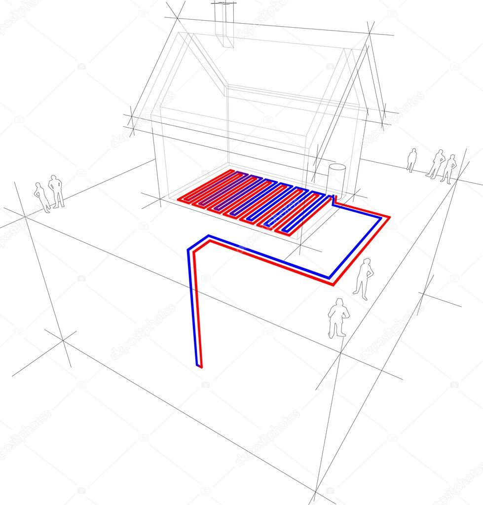 hight resolution of heat pump diagram geothermal heat pump combined underfloorheating low temperature heating system vector by valigursky