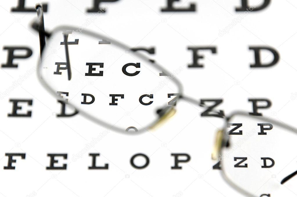 Eyeglasses and eye test chart — Stock Photo © buradaki