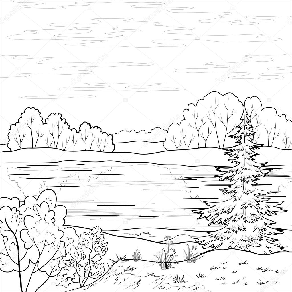 Landscape. Forest river, outline — Stock Photo © oksanaok