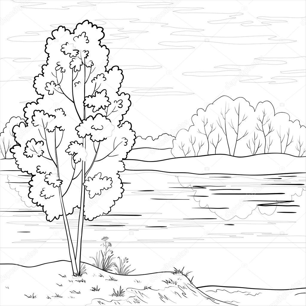 Landscape. Forest river, outline — Stock Vector © oksanaok