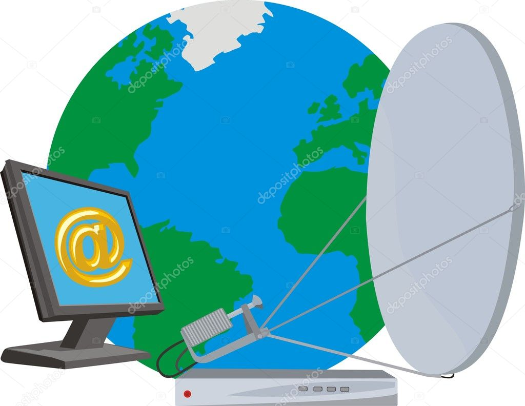 hight resolution of satellite internet stock vector