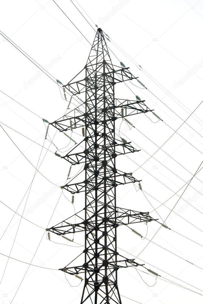 Silhouette of power grid tower — Stock Photo © Rumo #6630817