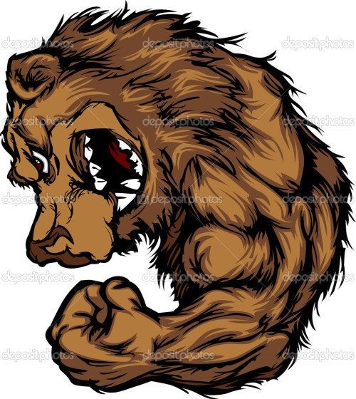 small resolution of bear mascot flexing arm cartoon stock vector