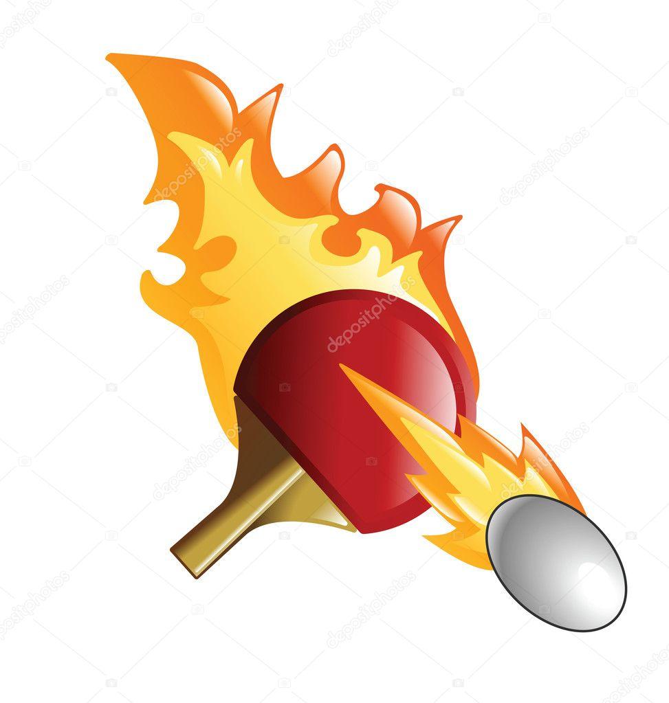 Flaming Ping Pong Bat And Ball Stock Vector 169 Krisdog