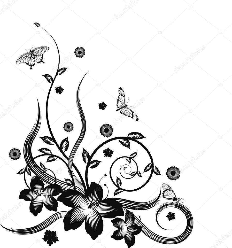 Gorgeous black corner floral design — Stock Vector