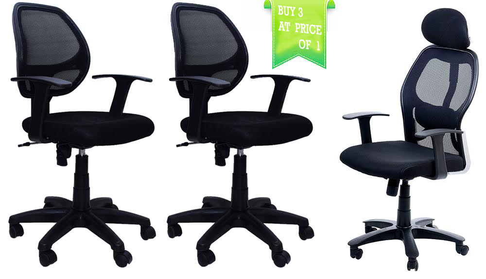 revolving chair gst rate low chairs for babies buy ib basics office three at price of one online in india best prices