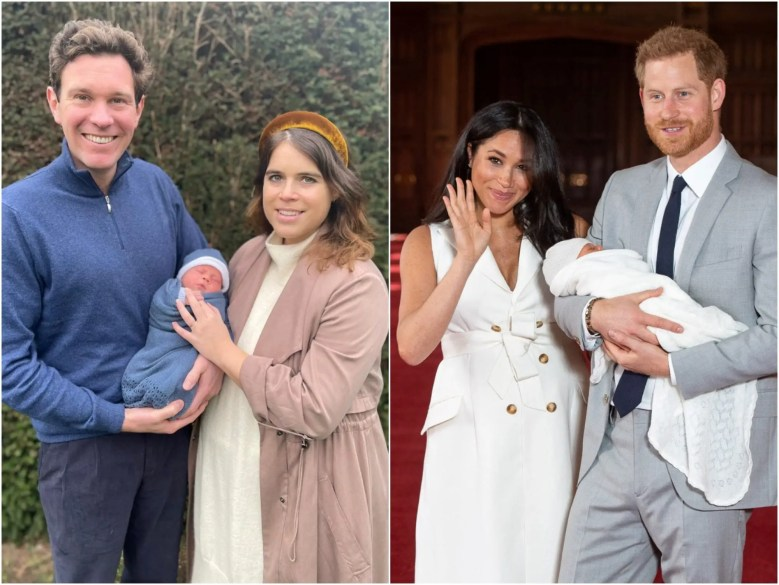 princess eugenie, meghan and harry baby photos