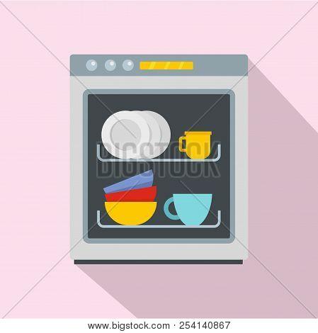 dishwasher icon flat illustration