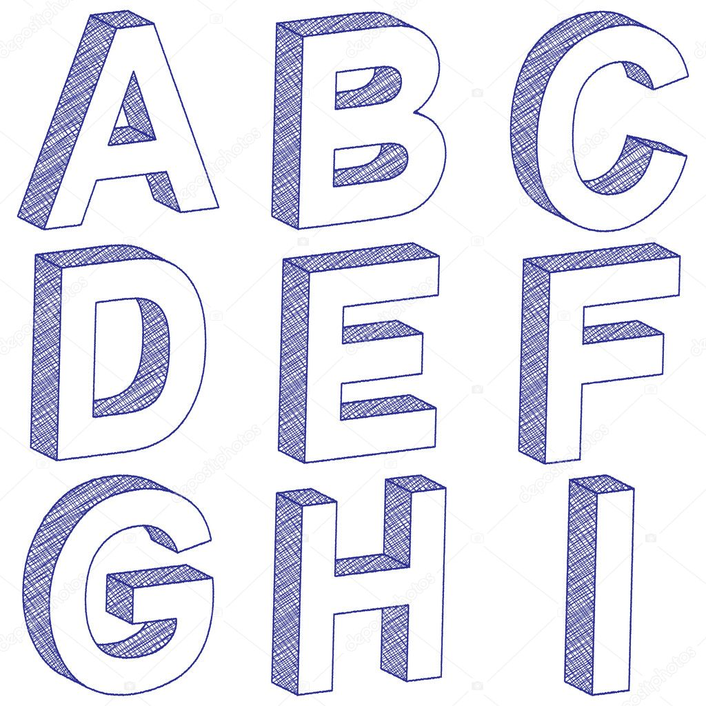 drawing 3d letter a