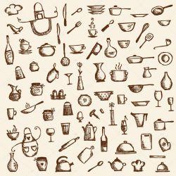 Utensilios de cocina bosquejo de dibujo para su diseño