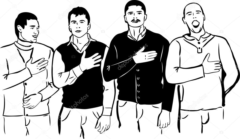 Four men listen and sing their national anthem — Stock