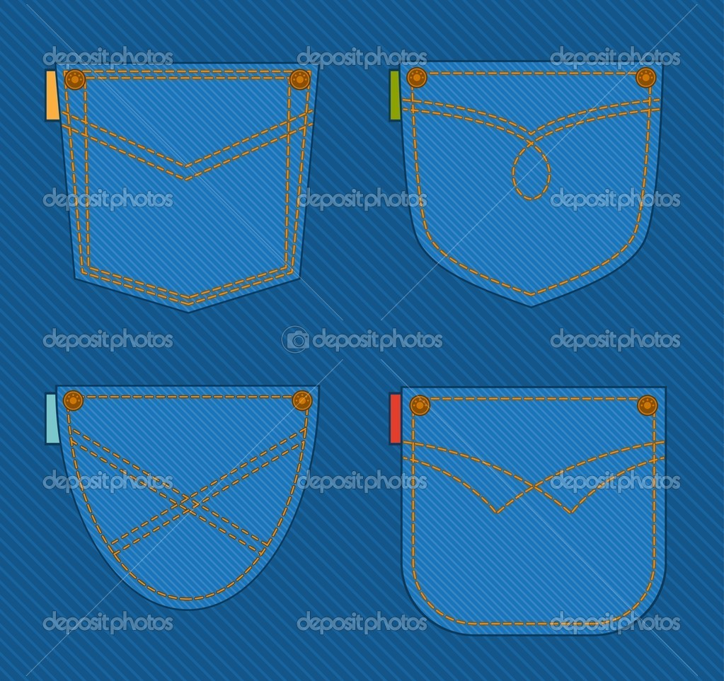 hight resolution of jean pocket vector by forewer