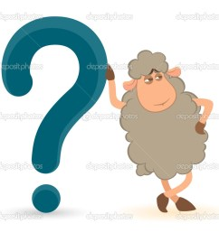 cartoon sheep pushes a question mark on a white background stock vector [ 1023 x 933 Pixel ]