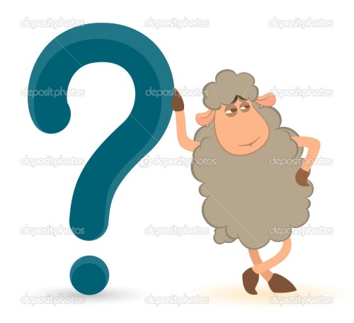 small resolution of cartoon sheep pushes a question mark on a white background stock vector