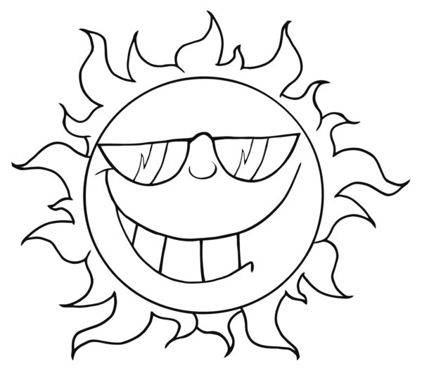 Outline Of A Cool Sun Wearing Shades — Stock Photo
