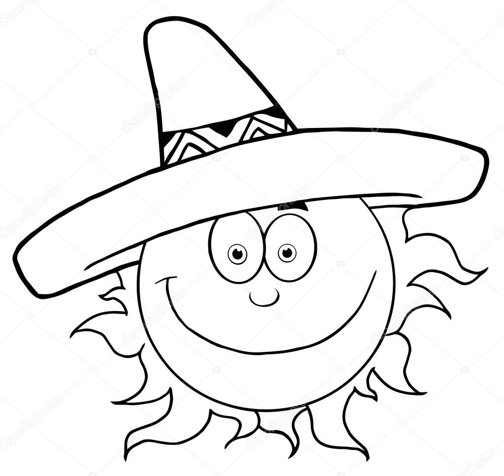 Outline Of A Happy Sun Wearing A Sombrero