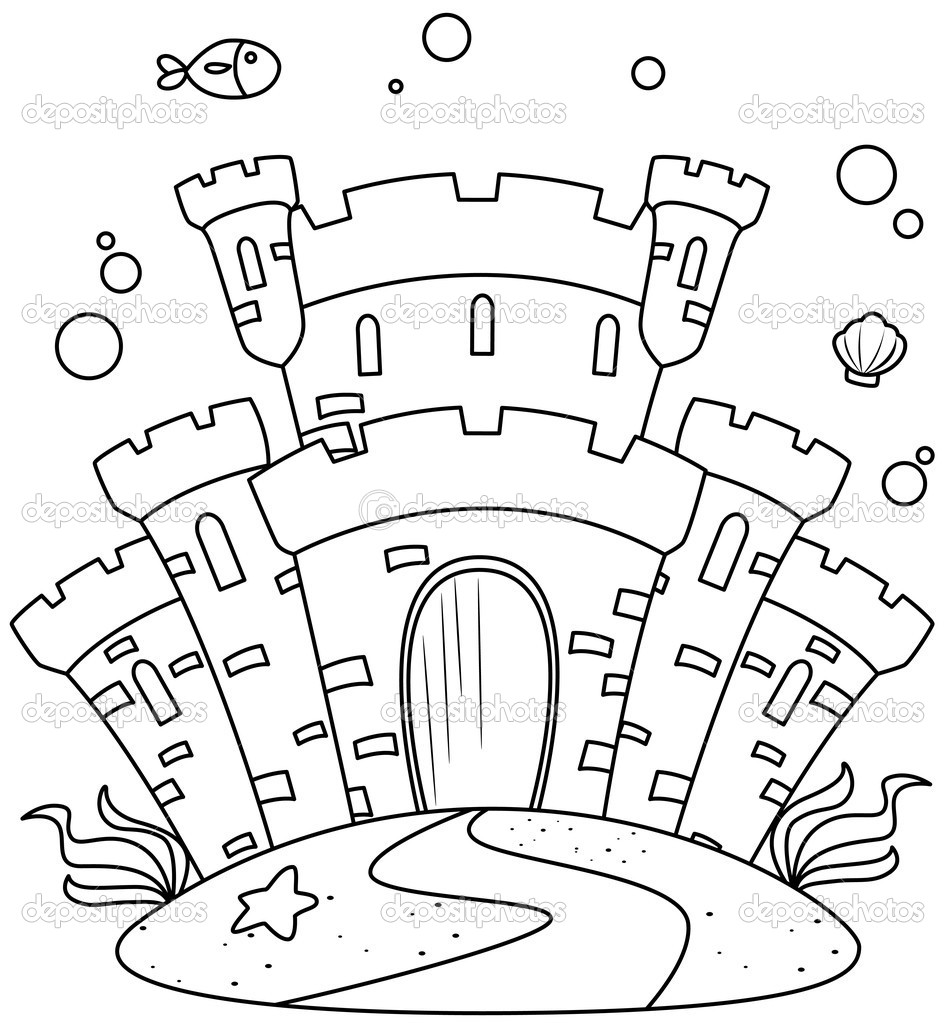 Line Art Undersea Castle — Stock Photo © lenmdp #7599866