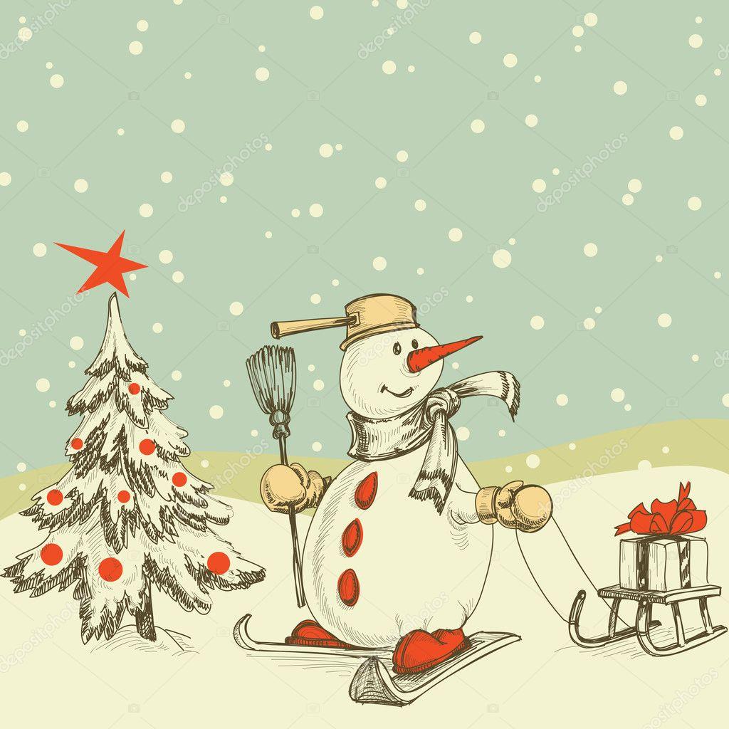 Winter cartoon scene | Winter cartoon scene — Stock Vector © Danussa #7319927