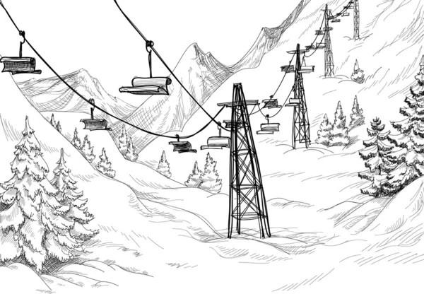 Mountain ski lift sketch — Stock Vector © Danussa #7514549
