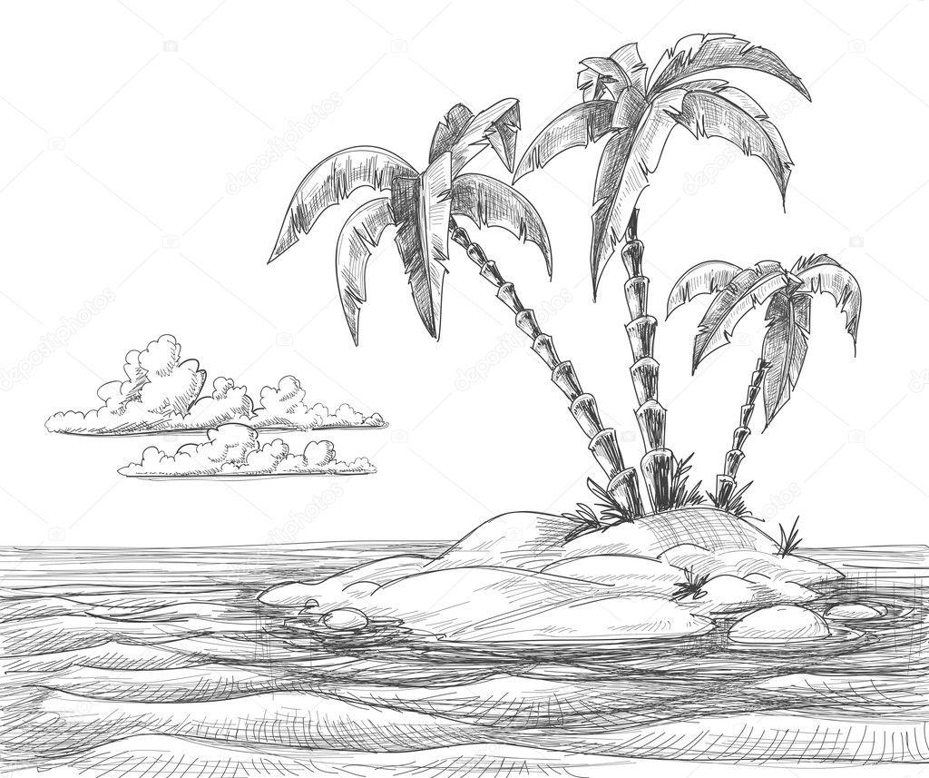 Tropical island sketch — Stock Vector © Danussa #7597995
