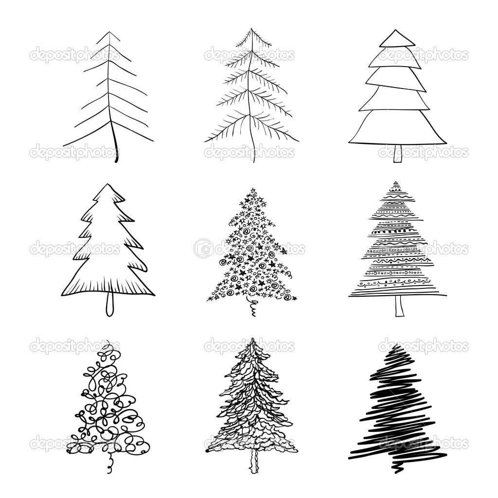 Christmas Tree Silhouette Set Of Illustrations Vector