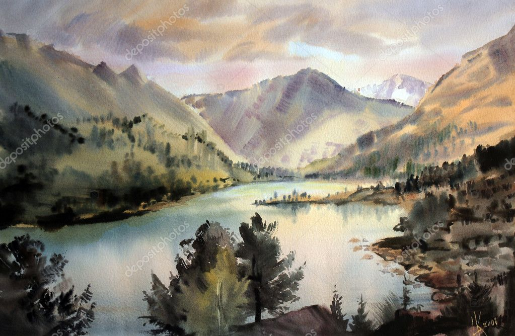 Mountain landscape painted by watercolor  Stock Photo