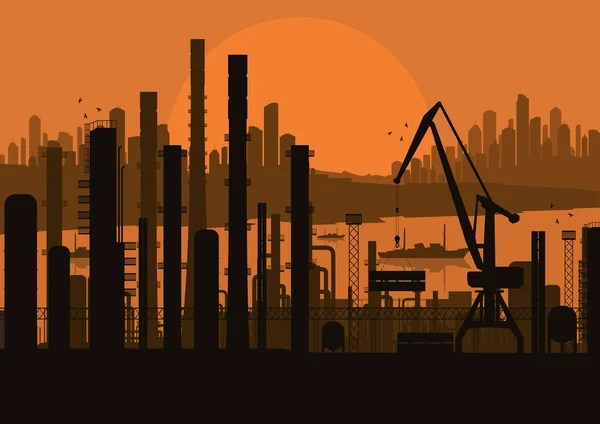 oil refinery station background