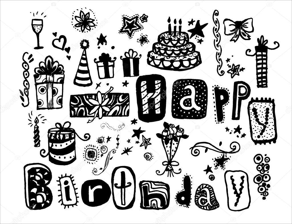 Doodle Happy Birthday Many Holiday Elements Hand Drawn